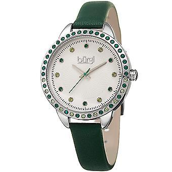 Burgi Women's BUR161  Swarovski Colored Crystal Bezel Embossed Dial Strap Watch BUR161GN