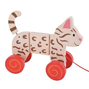Bigjigs Toys Wooden Pull Along (Cat) Walker Walk Toddler Baby