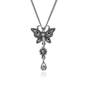 Gemondo 925 Sterling Silber 0,20 ct Markasit Schmetterling Jugendstil 45cm Halskette