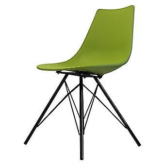 Chaise de salle à manger en plastique vert iconique de fusion vivant avec des jambes noires de métal
