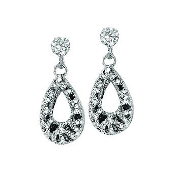 Eterna colección Sumatra chorro negro y Diamante tono plata gota Clip en pendientes