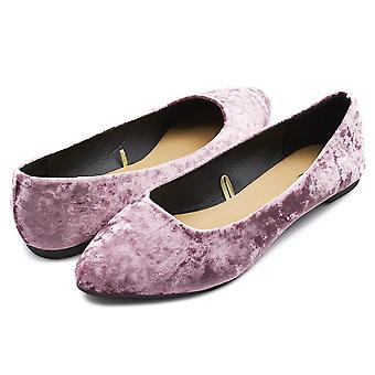 Sara Z Womens Crushed Velvet Pointed Ballet Flat Slip On Shoes