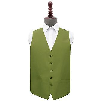 Olive Green Shantung Wedding Waistcoat