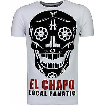 T-shirt i El Chapo-Flockprint-vit
