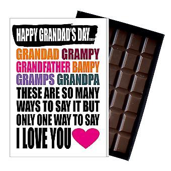 Rolig fars dag gåva Grandad choklad närvarande för Grampy farfar 101