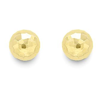 Jewelco London 9ct Gold Diamond-cut Palla Stud Orecchini