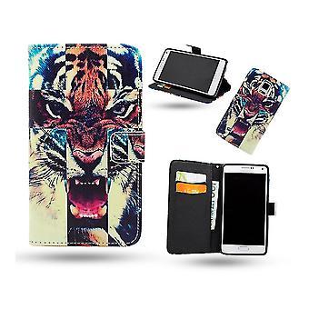 Fodral / Plånbok I Läder - Samsung Galaxy Note 4 - Tiger