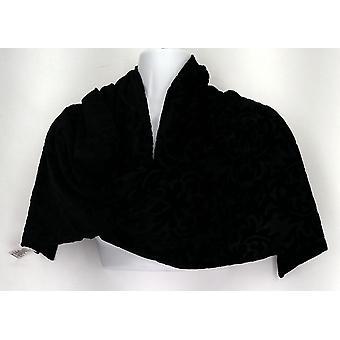 Susan Graver Sciarpa Polyester in rilievo velluto con nero a strascio