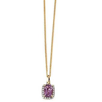Elements Gold Diamond and Amethyst Pendant - Purple/Gold/Silver