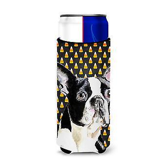 Boston Terrier Candy Corn Halloween Portrait Ultra Beverage Insulators for slim