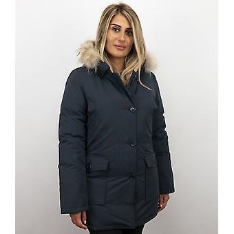 Fur coats-Ladies winter coat Wooly long-fur collar-Parka side pockets-blue