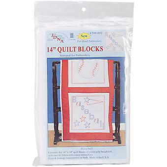 Stamped White Sport Themed Quilt Blocks 14