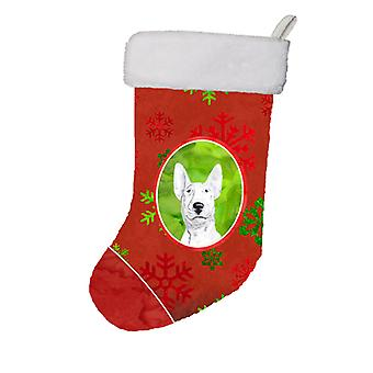 Bull Terrier Red Snowflakes Holiday Christmas Stocking