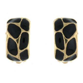 Clip On Earrings Store Gold & Black Enamel Giraffe Semi Hoop Clip on Earrings