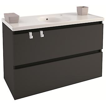 Bath+ Cabinet 2 drawers Anthracite Porcelain Basin 100cm