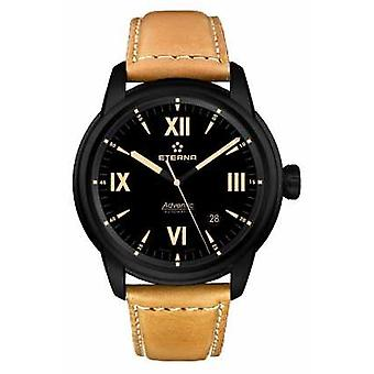 Eterna Mens Eternity Automatic Leather Strap Black Dial Black Case 2970.43.42.1353 Watch