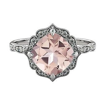 14K White Gold 2.25 CTW natural peach/pink VS Morganite Ring with Diamonds Flower Leaves Halo