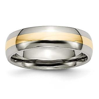 Titanio Engravable 14k Inlay in oro 6mm lucidato banda anello - anello Dimensione: 6-13