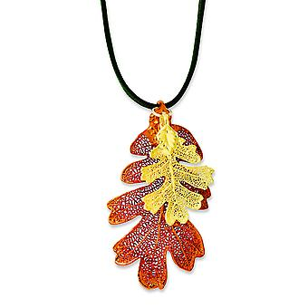 Iridescent Copper/24k Gold Dipped Oak Leaf Necklace With Leather Cord - 20 Inch