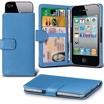 iTronixs - Samsung Galaxy X Cover 4 (4.5 inch) Case Clamp Style Wallet Protective PU Leather Case Cover - Baby Blue