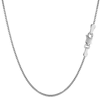 Sterling Silver Rhodium Plated Box Chain Necklace, 1.1mm