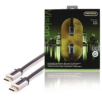 ProfiGold high speed HDMI kabel med Ethernet-HDMI-tilslutningen HDMI slægtskab 10,0 m, sort