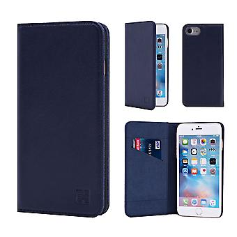 32nd Classic Real Leather Wallet for Apple iPhone 7   / iPhone 8 - Navy Blue