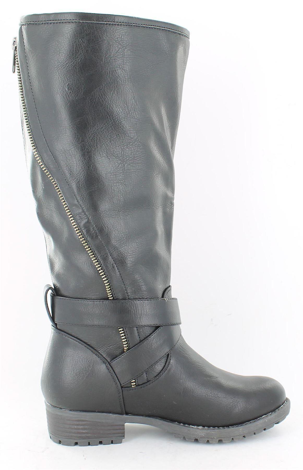 Ladies Spot On Asymmetric Zip Biker Style Boots Black Size 6