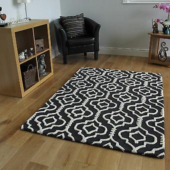 Schwarzen modernen Gitter Wolle Teppich Athena
