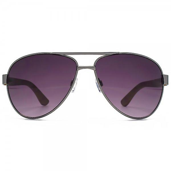 Fenchurch Bamboo Temple Aviator Sunglasses In Brushed Silver