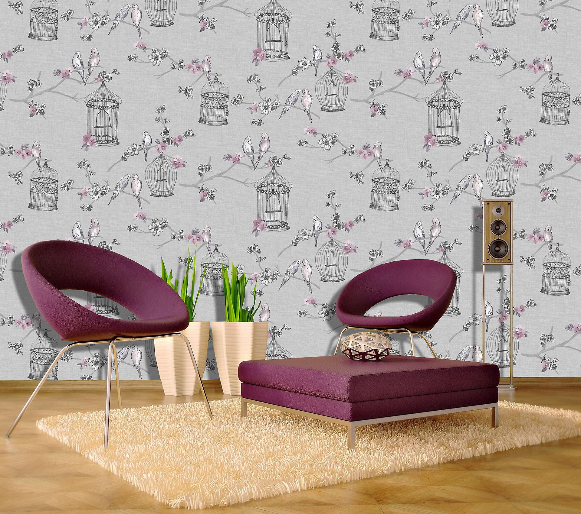 Birds Wallpaper Birdcage Flowers Floral Love Hearts Grey Pink Lavender Arthouse