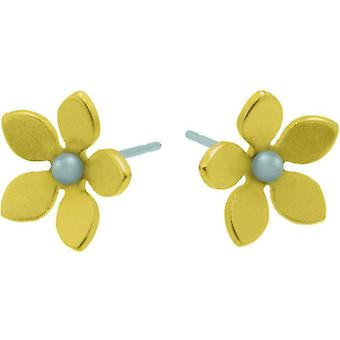 Ti2 Titanium 13mm Five Petal Stud Earrings - Lemon Yellow