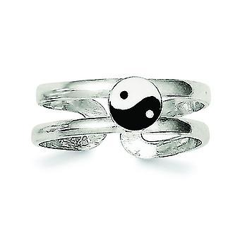 Sterling sølv Solid emaljeret Ying-Yang tå Ring