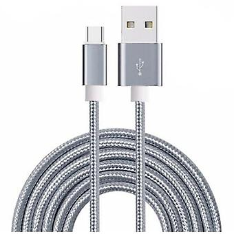 ONX3 (Grey) Premium Quality [ 3 METER ] USB Micro-USB Cable Nylon Braided Fast Charging and Data Transfer Cable For Gionee S10C