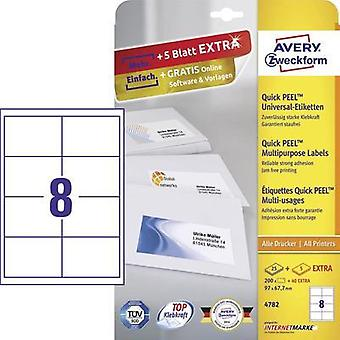 Avery-Zweckform 4782 Labels (A4) 97 x 67.7 mm Paper White 240 pc(s) Permanent All-purpose labels Inkjet, Laser, Copier
