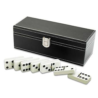 Traditional Dominoes in Black Faux Leather Case - G319
