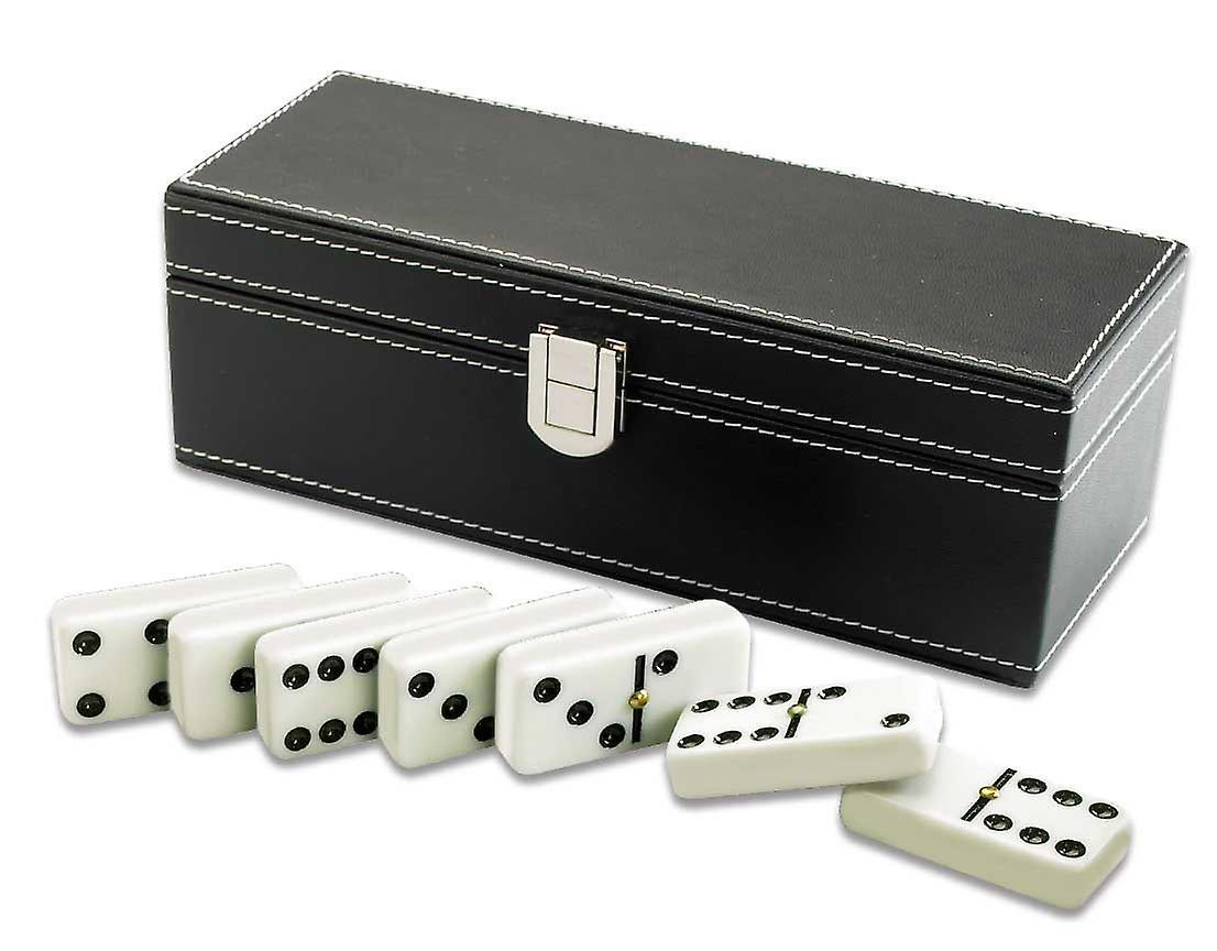Traditionelle Dominosteine In Schwarzem Kunstleder Case