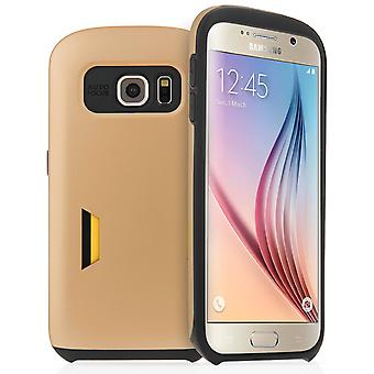 Samsung Galaxy S6 Hard Case With Card Slots - Gold