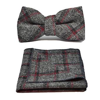 Heritage Pebble Grey Check Bow Tie & Pocket Square Set
