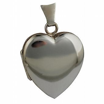 Medaglione a forma di cuore normale di 18ct oro bianco 21x19mm