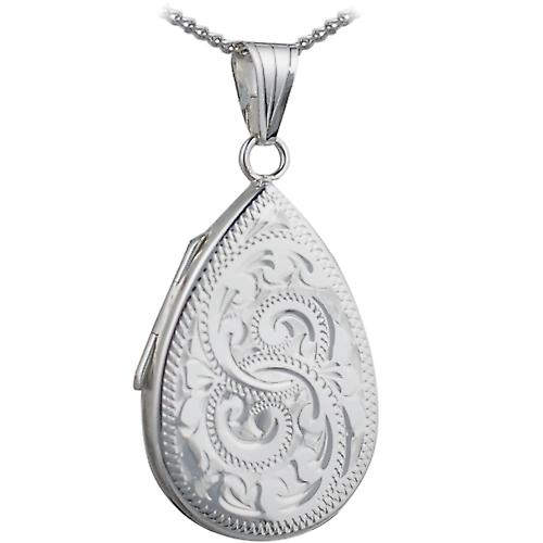 Silver 28x19mm engraved flat teardrop Locket with a curb Chain 18 inches