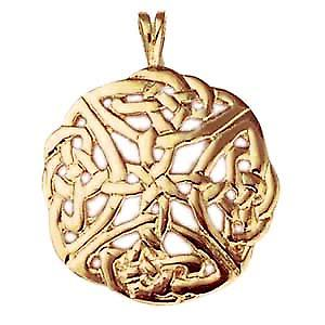 9ct Gold 27mm round Celtic knot design Pendant