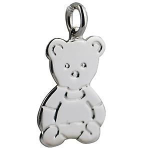Silver 21x19mm Flat Teddy Bear pendant