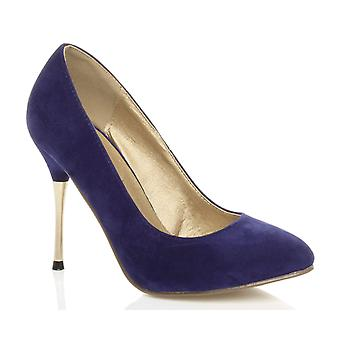 Ajvani womens high metal gold thin heel stiletto court smart evening shoes pumps