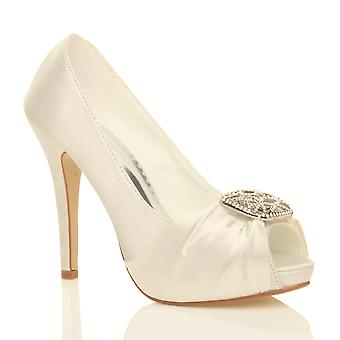 Ajvani womens high heel diamante ruched bridal wedding prom evening peep toe court shoes pumps