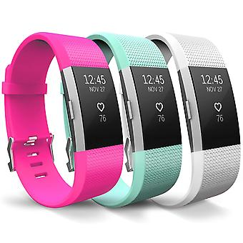 Fitbit Charge 2 Strap 3-Pack (Large) - Pink/Mint/White