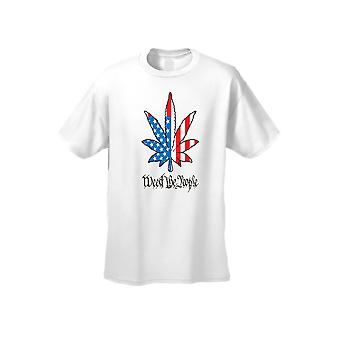 USA Flag T Shirt Men's Weed The People Short Sleeve Tee