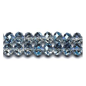 70+  Blue/Grey Czech Crystal Glass 6 x 8mm Faceted Rondelle Beads GC9597-3