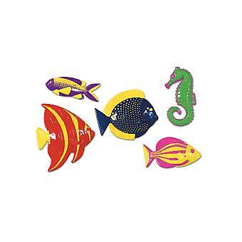 Plast tropiske fisk dekorationer