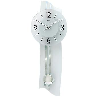 Wall clock with pendulum mineral glass color white silver quartz watch